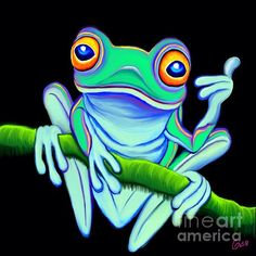 A green frog giving the thumbs up!