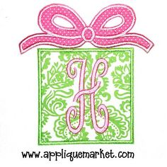 Pink and green christmas applique!!! Bebe'!!! Love this applique for a pink and green Christmas!!!