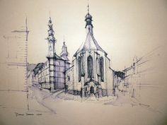 Banska Stiavnica Building Sketch, Expresso, Central Europe, Bratislava, Less Is More, Taj Mahal, Photo And Video, The Originals, Drawings