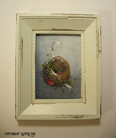 """""""A Winter Nest"""", original painting with Frame.  FREE usa shipping. by WitsEnd, via Etsy.  SOLD"""