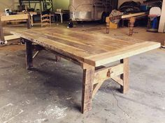 37 Reclaimed Plank Table Ideas not to Miss Rustic Table, Wooden Tables, Farm Tables, Trestle Tables, Side Tables, Coffee Tables, Kitchen Furniture, Rustic Furniture, Furniture Design