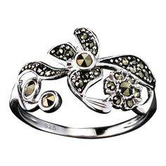 Sterling Silver Marcasite Flowers Ring