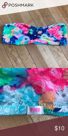 VS Pink Bandeau Like new! Tag cut out. Brightly colored lace. PINK Victoria's Secret Intimates & Sleepwear Bandeaus