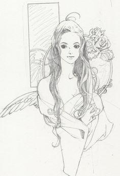 Portrait of woman with long hair by manga artist Natsuki Sumeragi.