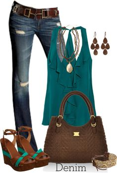 Casual Jeans Outfit Teal & Brown