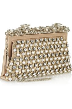 Valentino|Embellished satin shoulder bag