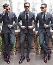 Men Gray Peak Lapel Slim Fit Wedding Tuxedos Men's Wedding Groomsman 3pcs Suits