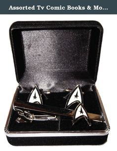 Assorted Tv Comic Books & Movie Boxed Cuff Links & Tie Clip Sets - You Pick (Star Trek). Brand NewAssorted Tv Comic Books & Movie Boxed Cuff Links & Tie Clip Sets - You Pick Silvertone Metal With Enamel Finish Comes packaged in a velvet lined gift box Great gift for the Holidays!!!!!!!!.