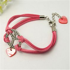 Fashion Bracelets, Faux Suede Cord With Tibetan Style Pendants, Shell Beads, Alloy Lobster Claw Clasps, Iron Chain...