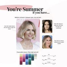 What's your colour season? Summer Color Palettes, Soft Summer Color Palette, Cool Color Palette, Summer Colors, Cool Skin Tone, Colors For Skin Tone, Beige Hair, Seasonal Color Analysis, Summer Skin