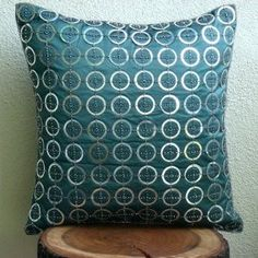 Teal N Silver Rings- Decorative Pillow Cover - Silk Pillow Cover with Sequin Embroidery
