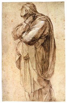 Michelangelo Buonarroti, Study Of A Mourning Woman, 1493-97, Pen and Brown Ink, Heightened with White  260 x 165 mm