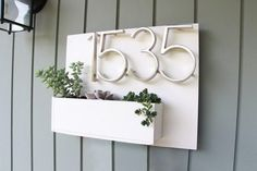 address planter plaque handmade house number sign outdoor exterior house wall display by