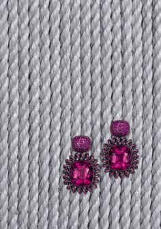 Hemmerle earrings   hot pink sapphires - rubellites - black finished silver - white gold