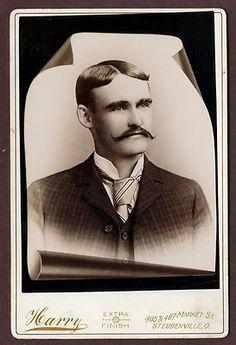 Antique Memorial Cabinet Card Photo Handsome Mustache MAN Harry Steubenville O | eBay
