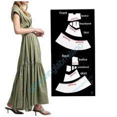 Dress Design Drawing, Dress Patterns, Pattern Dress, Draped Skirt, Block Dress, Asymmetrical Tops, Tiered Dress, Short Tops, Vintage Skirt