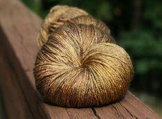 Golden Compass  Lotus Silk/BFL Sock yarn  100g by KelpieFibers