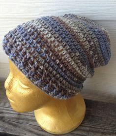 100% turkish wool. Handmade beanie in blues brown by iheartorganix