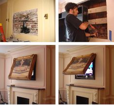 Hide your Flat Screen TV! When the TVCoverUp is closed, only your framed art is visible. You can use any art or mirror, including your own!  Picture frames lift automatically or manually and creates a theatre environment. Easy to install!