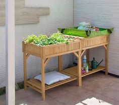Planting Bench Wooden Greenhouse Potting Table Opening Lid Large Storage Shelves
