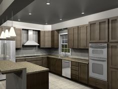 Love this Kitchen layout and the dark ceiling