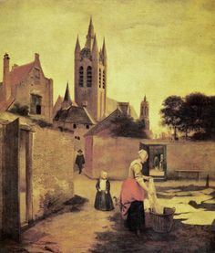 """A Woman at a Bleach Yard"" by Pieter de Hooch (1629-1684)"