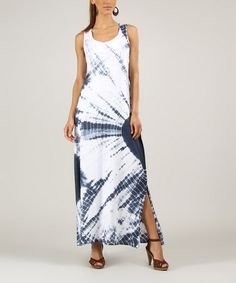 Look at this #zulilyfind! Navy & White Tie-Dye Sleeveless Maxi Dress #zulilyfinds