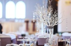 White Branch Centerpiece with Crystals