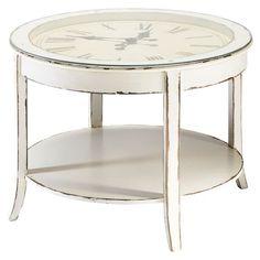 Mesa baja redonda reloj de cristal y madera blanca envejecida Diam. 72 cm