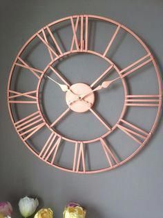 Rose Gold Copper Colour Metal Skeleton Wall Clock Roman Numerals