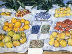 Fruta exhibida en un soporte, 1881-1882 - Gustave Caillebotte