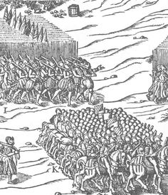 Battle of Dreux, 1562, showing mounted French arquebusiers and infantry, with Lansknechts in 'pluderhosen' on right.