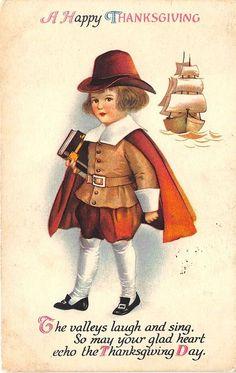 Ellen Clapsaddle Thanksgiving Pilgrim Boy Poem Signed Postcard | eBay