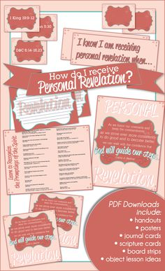"Young Women {Come, Follow Me} May lesson helps for ""How can I receive personal revelation?""  Handouts, posters, unique lesson activities and more!  www.LatterDayVillage.com"