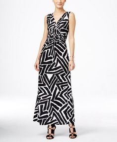 INC International Concepts Ruched Printed Maxi Dress, Only at Macy's