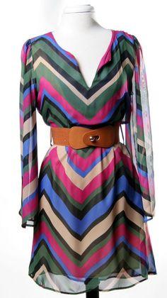 Bell Sleeve Chevron Belt Dress