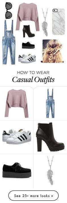 """Casual"" by sullivancass on Polyvore featuring Relaxfeel, Chicnova Fashion, adidas Originals, Steve Madden, Penny Preville, Uncommon and Karen Walker"