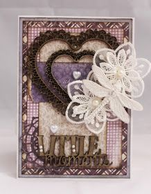 Purple shabby chic card made with Maja Design papers.
