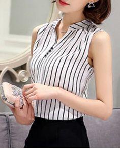 Fashionable V-Neck Sleeveless Striped Chiffon Blouse For Women