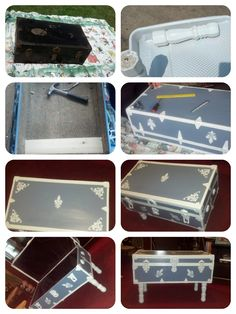repurposed painted metal trunk with legs-funky coffee table with