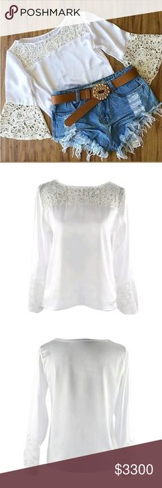 Sexy Flared Sleeved Lace Trim Shirt Sexy Flared Sleeved Embroidery Floral Lace Trim Shirt   This is WHITE. WHITE top WHITE lace. Don't want any confusion......  This is NWOT Retail Price Firm Unless Bundled.  Measurements Available Upon Request. Tops Blouses