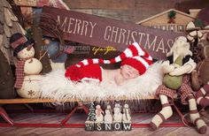 Christmas Santa Elf Hat and Diaper Cover Set Newborn Photography Prop Cherry Red and White. $38.00, via Etsy.