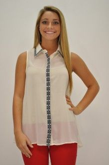 Geometric Chiffon Blouse available at Southern Flair Boutique