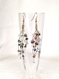 Handmade chandelier earrings featuring branches with tourmaline, fluorite & crystals. Handmade Chandelier, Copper Paint, Gold Colour, Bohemian Jewelry, Chandelier Earrings, Ethereal, Branches, Allergies, Earrings Handmade