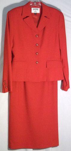 KASPER FOR ASL Red Skirt Suit - Waffle Texture - Jacket/Blazer-Longer Skirt - 4 #KasperforASL #SkirtSuit #kasper #suit #skirt #jacket #blazer #red #longskirt #4