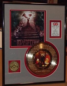 "Led Zeppelin ""Stairway To Heaven"" Framed 24Kt Gold Record Etched W/ Lyrics Rare Music Memorabilia, 2016 Amazon Most Gifted Framed Record Award Sets  #Collectibles"