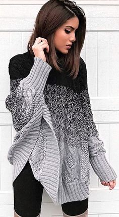 Womens Fashion: Ellie Poncho Sweater - Black/Grey or Black/White Mode Outfits, Casual Outfits, Fashion Outfits, Womens Fashion, Fashion Trends, Fashion Ideas, Ladies Outfits, Fashion Updates, Ladies Fashion