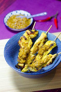 Brochettes de poulet sauce cacahuètes - Sate