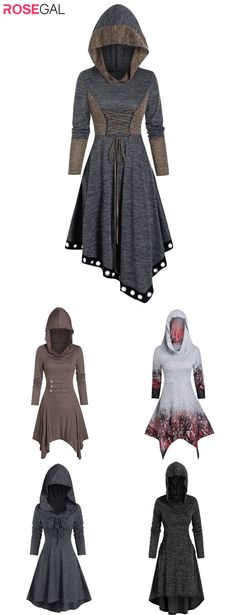 Hot Outfits, Edgy Outfits, Fall Outfits, Fashion Outfits, Sundresses Women, Cheap Dresses Online, Hooded Dress, Character Outfits, Cute Dresses