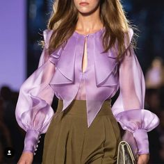 Luisa Spagnoli -ure elegance in a purple silk shirt, available online and in selected stores. Mori Fashion, Couture Fashion, Fashion Dresses, Classy Outfits, Chic Outfits, Kleidung Design, Looks Jeans, Moda Chic, Stylish Tops